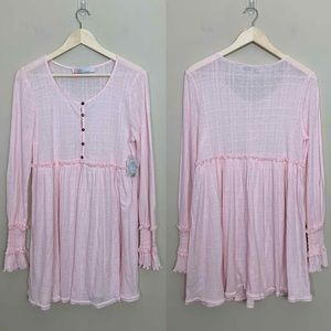 Free People • Beach Pink Babydoll Button Up Dress